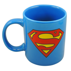 SUPERMAN CERAMIC MUG WITH A SUPERMAN LOGO ON BOTH SIDES IN GIFT WRAP
