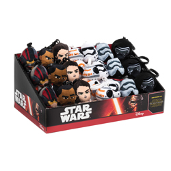 STAR WARS DISPLAY PLUSH KEYCHAINS - 24 PCS ASSORTED