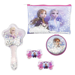 DISNEY FROZEN 2 SET 5 PIECES: NECESSAIRE BAG, BRUSH AND MIRROR WITH SNOW EFFECT OF STARS AND TWO ELASTIC HAIR