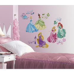 DISNEY PRINCESS WALL DECALS WITH GLITTER IN BLISTER PACK