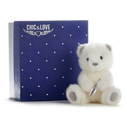 BAILEY BEAR  CHIC & LOVE 15 WITH CHAMPAGNE BOTTLE WITH REAL SWAROVKSI STONES