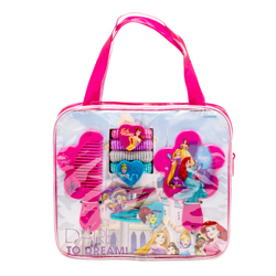 DISNEY PRINCESS HAIR ACCESSORIES SET IN BAG WITH GLITTER HENKEL