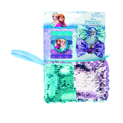 FROZEN SET SET WITH MIRROR, 2 SNAPCLIPS AND BEAUTYBAG WITH MAGIC SEQUINS