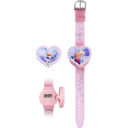 DISNEY FROZEN LCD CLOCK WITH 2 INTERCHANGEABLE HEART SHAPED COVERS IN BLISTER PACK