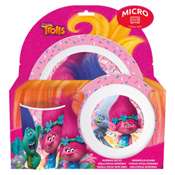 TROLLS MELAMINE DINNER PLATE, SOUP PLATE AND GLASS SET IN GIFT WRAP