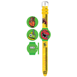 DINOTRUX FLIP TOP LCD WATCH WITH 2 INTERCHANGEABLES TOPS