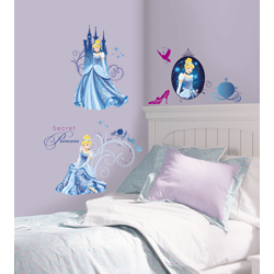 DISNEY PRINCESS CINDERELLA GLAMOUR WALL DECALS WITH GLITTER IN BLISTER PACK