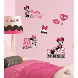MICKEY AND FRIENDS MINNIE LOVES PINK WALL DECALS IN BLISTER PACK
