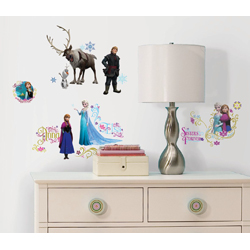 DISNEY FROZEN WALL DECALS WITH GLITTER SET IN BLISTER PACK