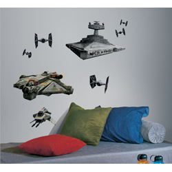 STAR WARS REBELS AND IMPERIAL SHIPS GIANT WALL DECALS SHEET IN BLISTER PACK
